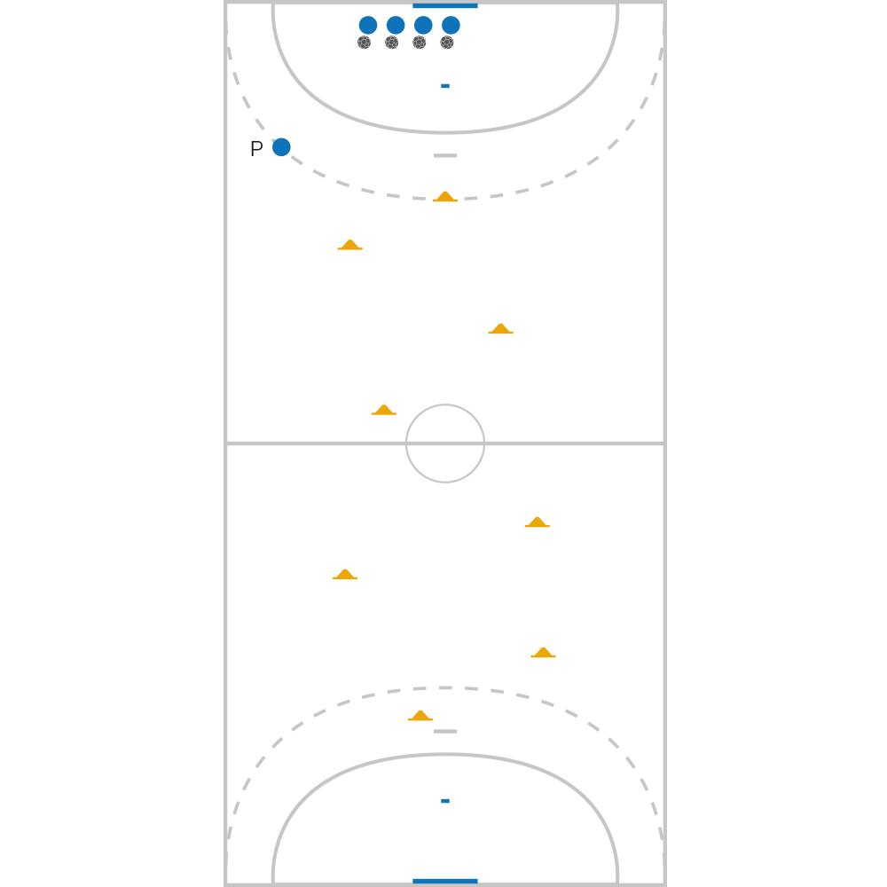 Fiche Exercice de Handball : Fondamentaux Passes et Courses