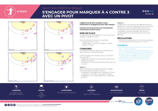 Consignes de l'exercice de Handball Attaque S'engager pour marquer à 4 contre 3 avec un pivot