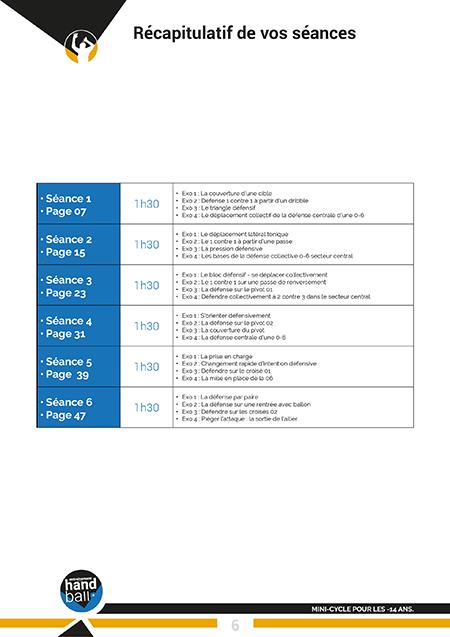 Cycle de 6 séances : Défense 0-6 pour les -14 ans