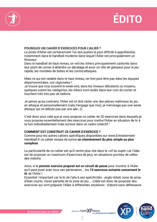 Cahier de 20 exercices pour les Ailiers