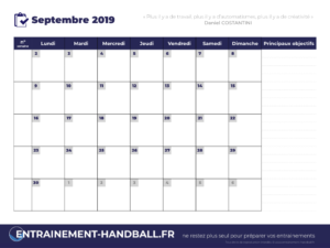 Calendrier Mensuel Saison 2019_2020 Septembre